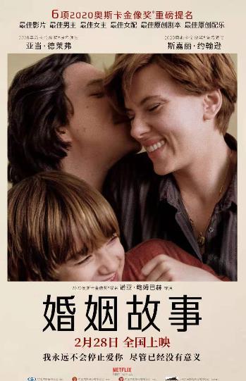 电影《婚姻故事》获奥斯卡6项重磅提名 定档2月28日